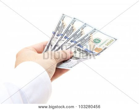 Handing out four hundred dollar. All on white background.