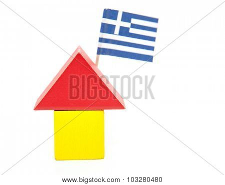 Stylized home with greek flag. All on white background