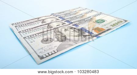Four hundred dollar notes. All on white background