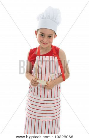 Smiling Chef Holding Kitchen Utensils