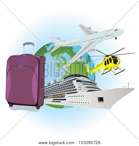 Travel, luggage, cruise liner, helicopter, airplane, flat vector illustration