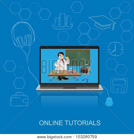 online tutorials, education, science, flat vector illustration, apps, banner, sketch