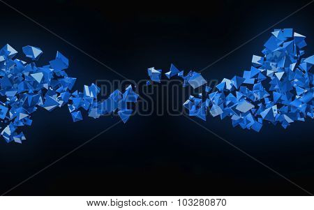 3D blue pyramids flow abstract background.