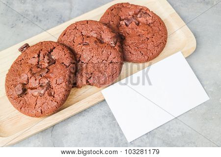 Homemade Chocolate Cookies With Blank Name Card
