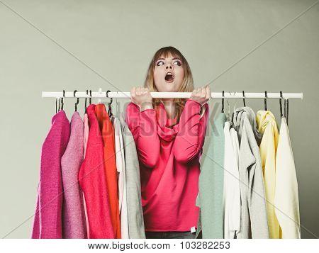 Woman Having Fun In Mall Or Wardrobe.