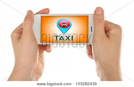 Hands holding mobile smart phone with interface taxi, isolated on white