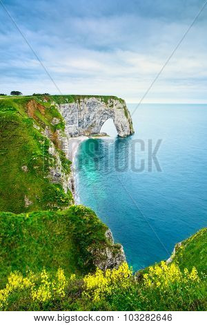 Etretat, Manneporte Natural Rock Arch And Yellow Flowers. Normandy, France