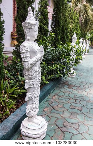 Thai White Angel Statue
