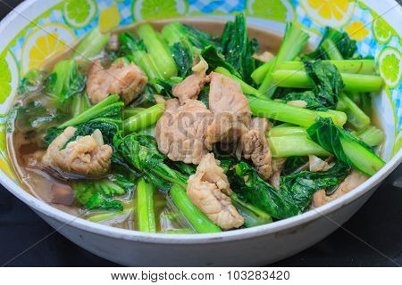 Fried Chinese Cabbage With Pork In Oyster Sauce