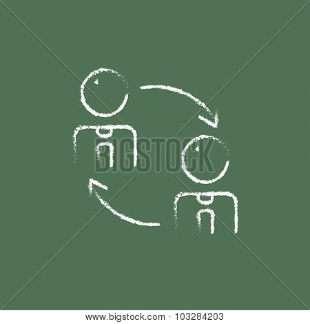 Staff turnover hand drawn in chalk on a blackboard vector white icon isolated on a green background.