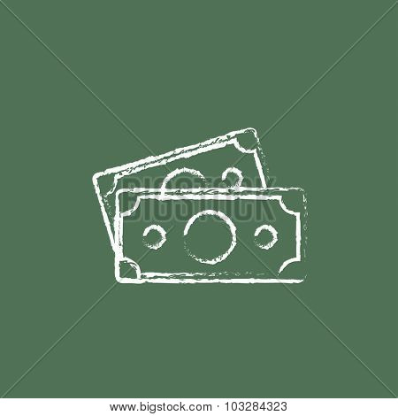 Money banknotes hand drawn in chalk on a blackboard vector white icon isolated on a green background.