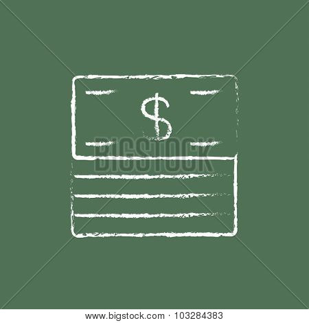 Stack of dollar bills hand drawn in chalk on a blackboard vector white icon isolated on a green background.