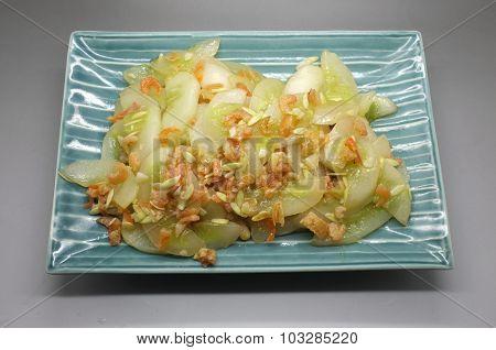 Stir fried cucumber with dried shrimp