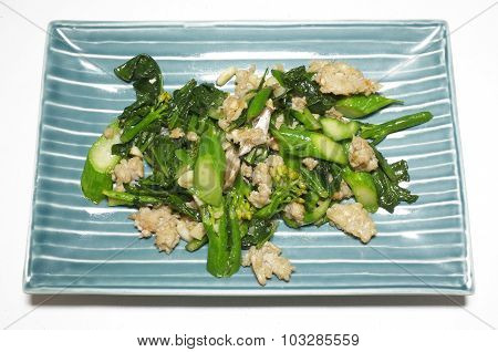 Stir fried Chinese kale with mince pork