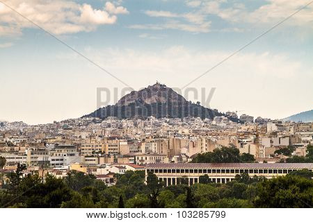 Athens And Lykavitos Hill On A Reainy  Day, Athens, Greece