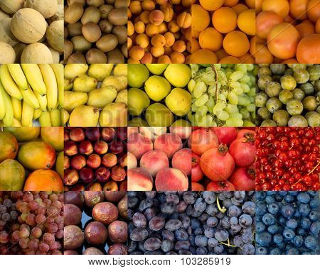 Collage of fruits of different colors.  Rainbow colors, beige to blue.