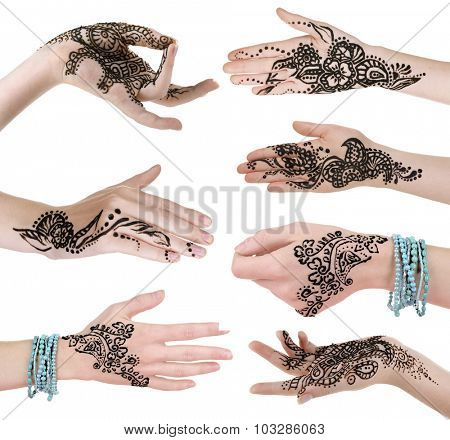 Collage with hands painted with henna, isolated on white