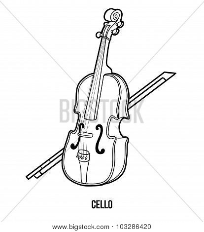 Coloring Book For Children: Musical Instruments (cello)
