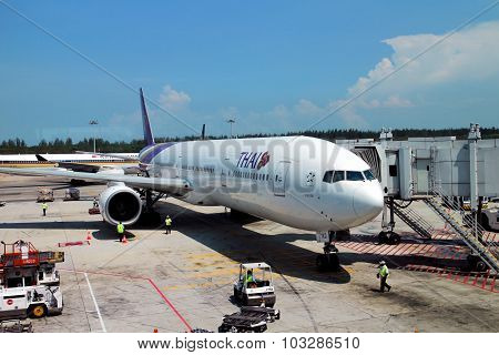 An aircraft parking at Changi airport