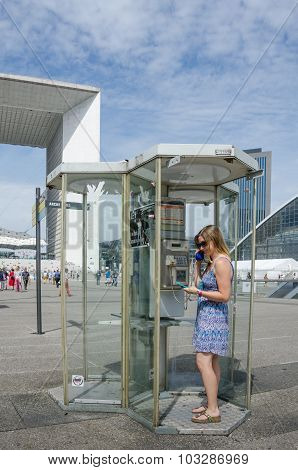 Public phone booth at La Defense in Paris