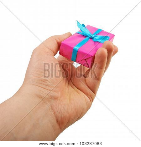 gift box in his hands, give, isolated on white background