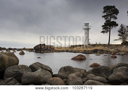 LIghthouse at cloudy weather