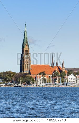 Cathedral at Schleswig with marina on Schlei inlet in foreground