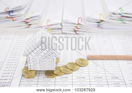 Bankruptcy Of House With Coins Fall To Ground And Pencil