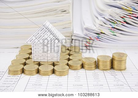 House With Step Of Gold Coins On Finance Account