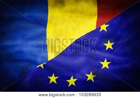 Romania and European Union mixed flag.
