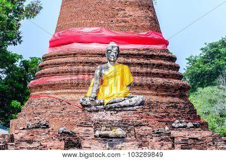 Buddha Statue At Wat Worachetha Ram Old Temple In Ayutthaya Historic Park, Thailand.