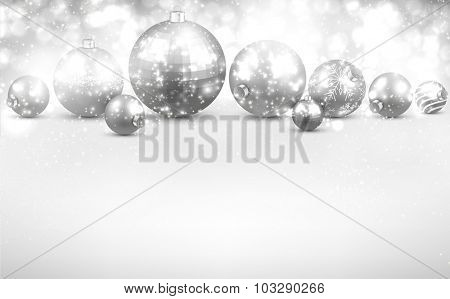 Christmas background with silver balls. Vector Illustration.