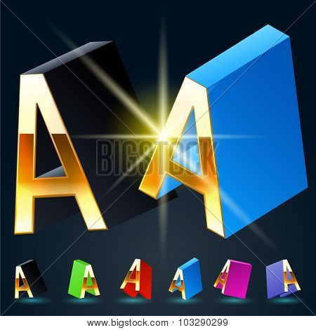 3D vector futuristic luxury alphabet with gold. All symbols in set have 8 random points of view and 6 different colors. Letter A