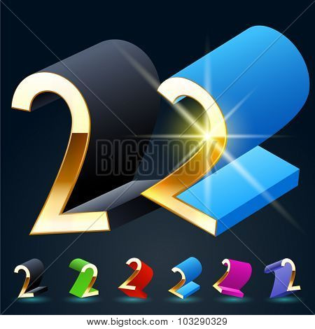 3D vector futuristic luxury alphabet with gold. All symbols in set have 8 random points of view and 6 different colors. Number 2