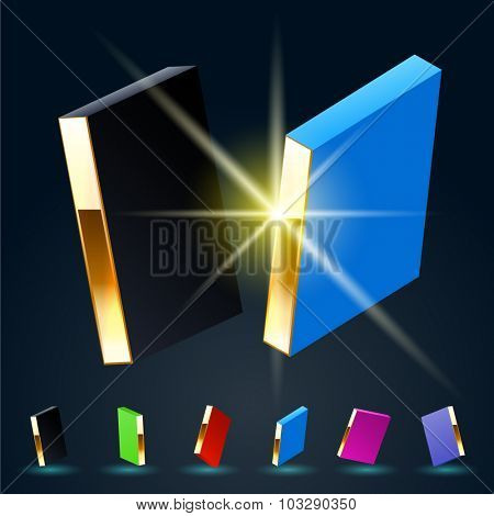 3D vector futuristic luxury alphabet with gold. All symbols in set have 8 random points of view and 6 different colors. Letter I