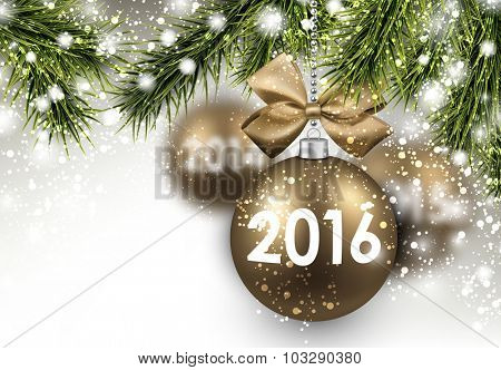 2016 New Year card with fir branches and gold balls. Vector Illustration.