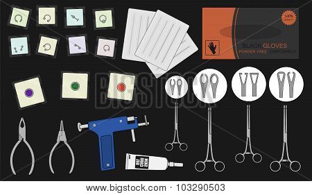 Set of professional piercing equipment. Color