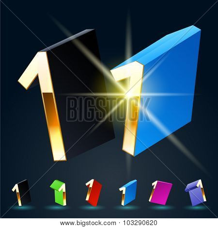 3D vector futuristic luxury alphabet with gold. All symbols in set have 8 random points of view and 6 different colors. Number 1