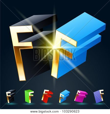 3D vector futuristic luxury alphabet with gold. All symbols in set have 8 random points of view and 6 different colors. Letter F