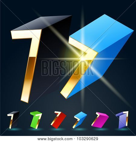 3D vector futuristic luxury alphabet with gold. All symbols in set have 8 random points of view and 6 different colors. Number 7