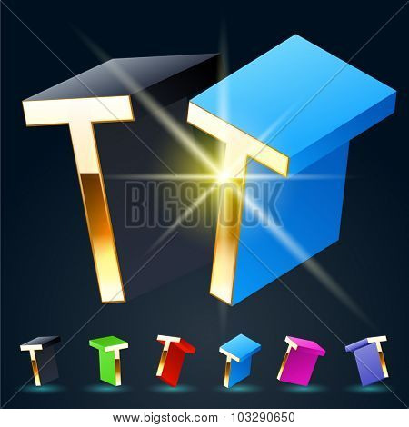 3D vector futuristic luxury alphabet with gold. All symbols in set have 8 random points of view and 6 different colors. Letter T