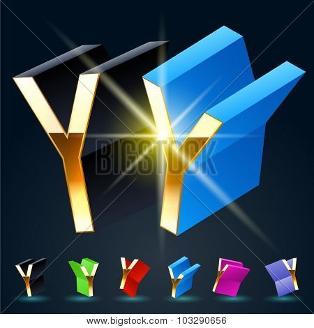 3D vector futuristic luxury alphabet with gold. All symbols in set have 8 random points of view and 6 different colors. Letter Y