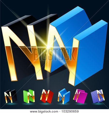 3D vector futuristic luxury alphabet with gold. All symbols in set have 8 random points of view and 6 different colors. Letter N