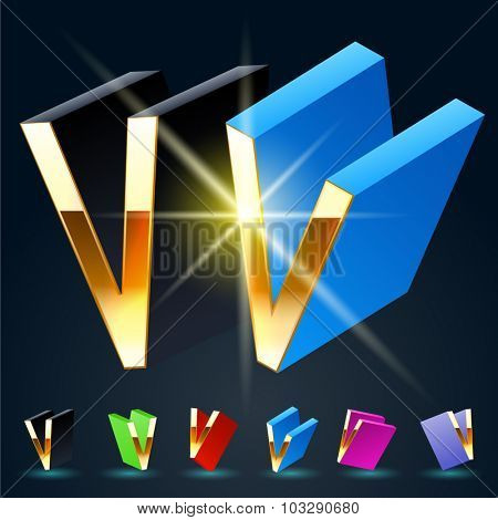 3D vector futuristic luxury alphabet with gold. All symbols in set have 8 random points of view and 6 different colors. Letter V