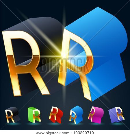 3D vector futuristic luxury alphabet with gold. All symbols in set have 8 random points of view and 6 different colors. Letter R