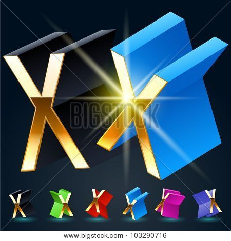3D vector futuristic luxury alphabet with gold. All symbols in set have 8 random points of view and 6 different colors. Letter X