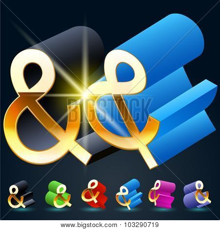 3D vector futuristic luxury alphabet with gold. All symbols in set have 8 random points of view and 6 different colors. Symbol