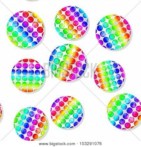 Seamless Pattern With Colorful Dotted Circles