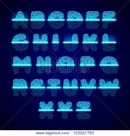 Fingerprint scanner alphabet. Vector.