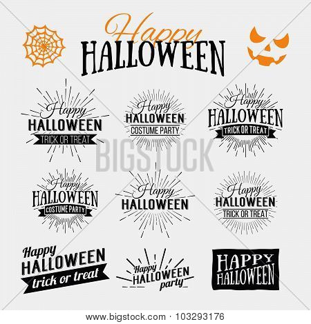Happy Halloween Poster On Bright Watercolor Background With Stains And Drops. Vector Illustration Of